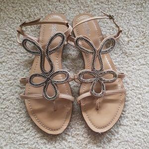 Beaded nude sandals